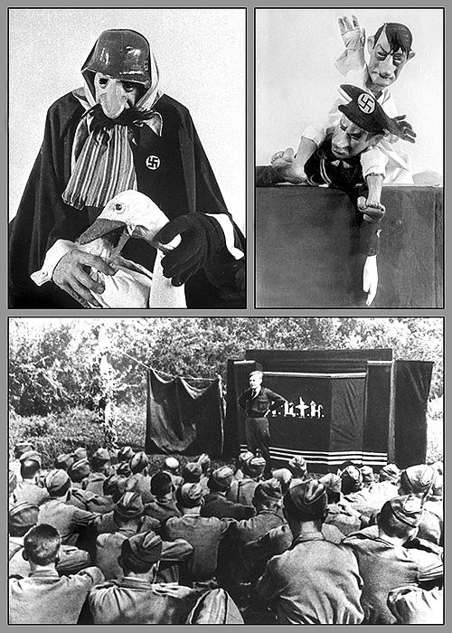 Художник по куклам, автор уникальной системы кукол с подвижной мимикой, Е.Беклешова сделала для выступлений на фронте пять мимирующих кукол.
