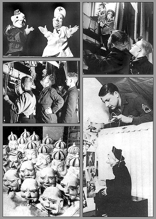 Из талантливых молодых солдат собирали группы (3-4 человека), изготавливали кукол, репетировали, и эти группы десятками отправляли на фронт.